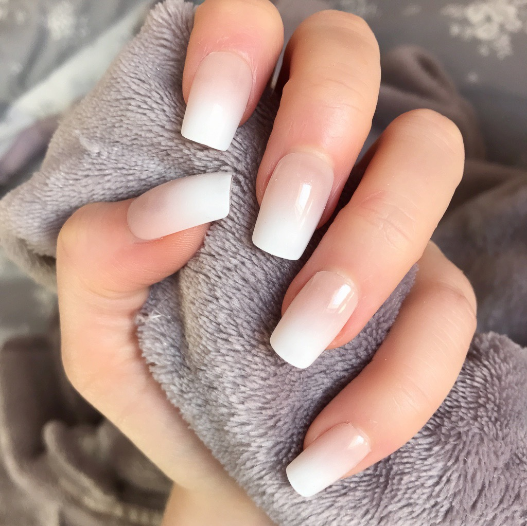 Nude Ombre Short Square Doobys Nails